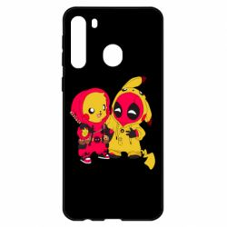 Чехол для Samsung A21 Pikachu and deadpool