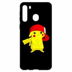Чехол для Samsung A21 Pikachu in a cap