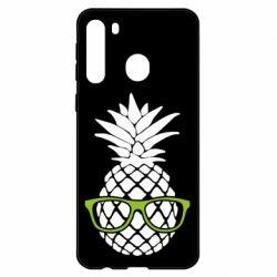 Чехол для Samsung A21 Pineapple with glasses