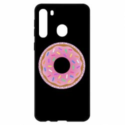 Чехол для Samsung A21 Pink donut on a background of patterns