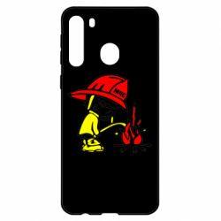 Чехол для Samsung A21 Писающий хулиган-пожарный