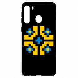 Чехол для Samsung A21 Pixel pattern blue and yellow
