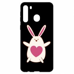Чехол для Samsung A21 Rabbit with a pink heart