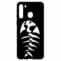 Чехол для Samsung A21 скелет рыбки