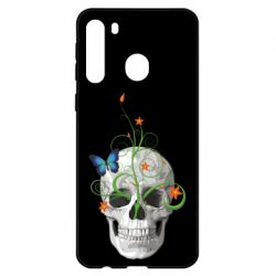 Чехол для Samsung A21 Skull and green flower
