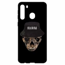 Чехол для Samsung A21 Skull in hat and text
