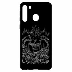 Чехол для Samsung A21 Skull with horns in the forest