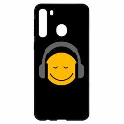 Чехол для Samsung A21 Smile in the headphones