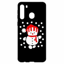 Чехол для Samsung A21 Снеговик в шапке