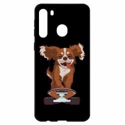 Чехол для Samsung A21 Собака Кавалер на Скейте