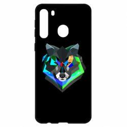 Чехол для Samsung A21 Сolorful wolf