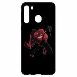 Чехол для Samsung A21 Spiderman flat vector