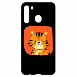 Чехол для Samsung A21 Striped tiger with smile