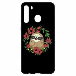 Чехол для Samsung A21 The slothful in flowers