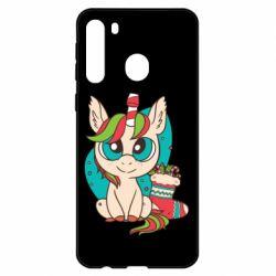 Чехол для Samsung A21 Unicorn Christmas