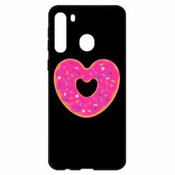 Чехол для Samsung A21 Я люблю пончик