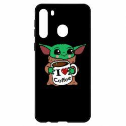 Чехол для Samsung A21 Yoda and a mug with the inscription I love coffee