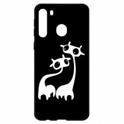 Чехол для Samsung A21 Жирафы