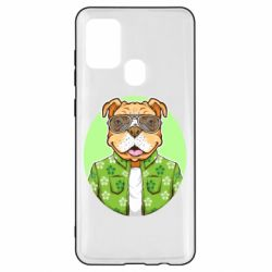 Чохол для Samsung A21s A dog with glasses and a shirt