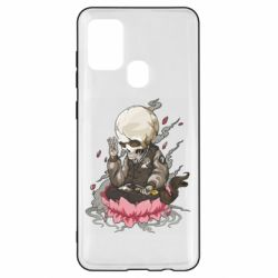 Чехол для Samsung A21s A skeleton sitting on a lotus