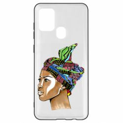 Чохол для Samsung A21s African girl in a color scarf