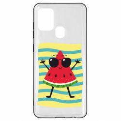 Чехол для Samsung A21s Арбуз на пляже