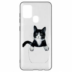Чехол для Samsung A21s Art cat in your pocket