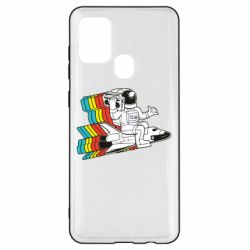 Чохол для Samsung A21s Astronaut on a rocket with a tape recorder