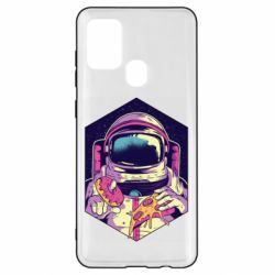 Чехол для Samsung A21s Astronaut with donut and pizza