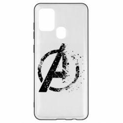 Чехол для Samsung A21s Avengers logotype destruction