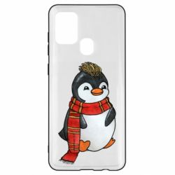 Чохол для Samsung A21s Baby penguin with a scarf