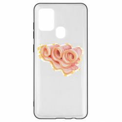 Чехол для Samsung A21s Bacon with flowers on the background