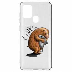Чехол для Samsung A21s Bear hugs a hare