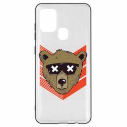 Чехол для Samsung A21s Bear with glasses