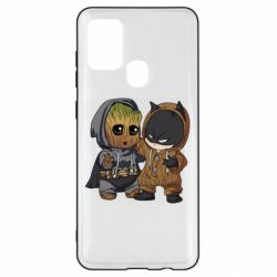 Чехол для Samsung A21s Бэтмен и грут