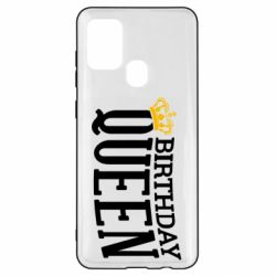 Чехол для Samsung A21s Birthday queen and crown yellow