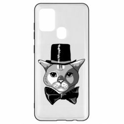 Чохол для Samsung A21s Black and white cat intellectual