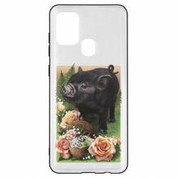 Чохол для Samsung A21s Black pig and flowers