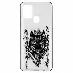 Чехол для Samsung A21s Black wolf with patterns