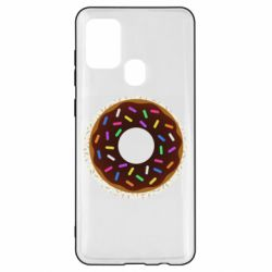 Чохол для Samsung A21s Brown donut on a background of patterns