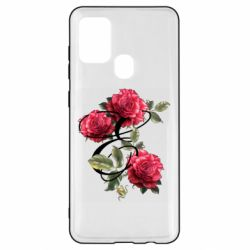 Чехол для Samsung A21s Буква Е с розами