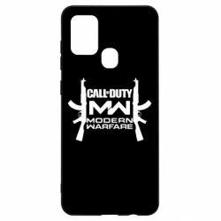 Чехол для Samsung A21s Call of debt MW logo and Kalashnikov