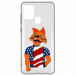 Чехол для Samsung A21s Cat in American Flag T-shirt