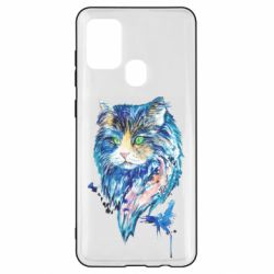 Чехол для Samsung A21s Cat in blue shades of watercolor