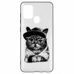 Чохол для Samsung A21s Cat in glasses and a cap