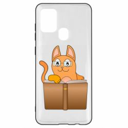 Чехол для Samsung A21s Cat in glasses with a book