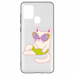 Чехол для Samsung A21s Cat in modern glasses