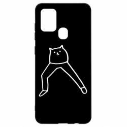 Чохол для Samsung A21s Cat in pants