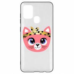 Чехол для Samsung A21s Cat pink