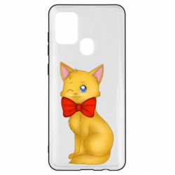 Чохол для Samsung A21s Cat with a bow